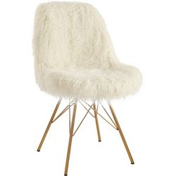 Linon Chester Faux Fur and Gold Base Chair