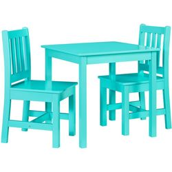 Linon Cole Teal Kid Table and Two Chairs