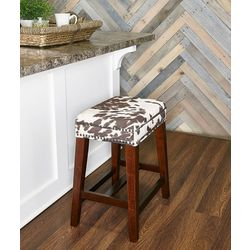 Linon Jacobs Cow Print Bar Counter Height Stool