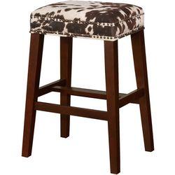 Linon Jacobs Cow Print Bar Height Bar Stool