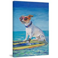 Marmont Hill Cool Surf Dog Painting Print Canvas Wall Art