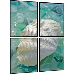 PTM Images Glass Shell Quadriptych Wall Art Set