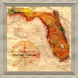 State of Florida Map Framed Wall Art