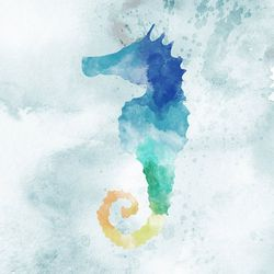 Watercolor Seahorse Canvas Wall Art
