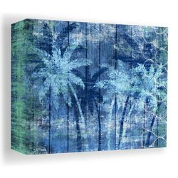 PTM Images 40'' Blue Palm Trees Canvas Wall