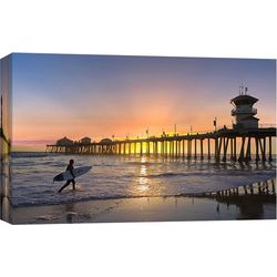 Huntingon Beach Pier Surfer Canvas Wall Art