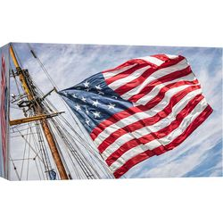 PTM Images Tall Ship American Flag Canvas Wall