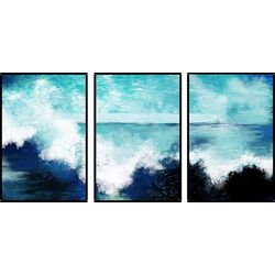 Coastal Surf Triptych Wall Art Set