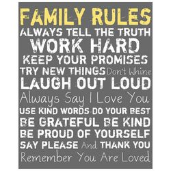 PTM Images 20'' Family Rules Grey Canvas Wall Art