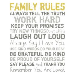 PTM Images 20'' Family Rules Gold Canvas Wall Art