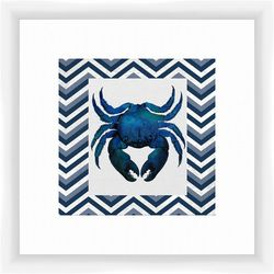 PTM Images Crab Chevron Framed Wall Art