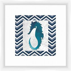 PTM Images Seahorse Chevron Framed Wall Art