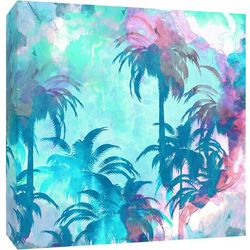 Palm Trees At Sunset Canvas Wall Art