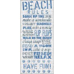 PTM Images Vertical Blue Beach Rules Canvas Art