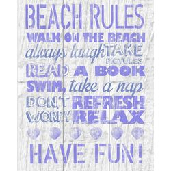 PTM Images Purple Beach Rules Canvas Art