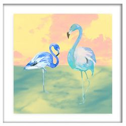 PTM Images Blue Flamingos Framed Wall Art