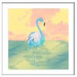 Blue Flamingo Framed Wall Art