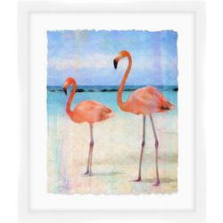 Flamingos At The Beach Framed Wall Art