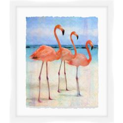Flamingos At The Beach II Wall Art