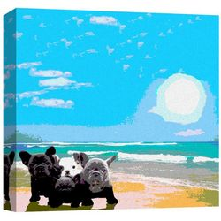 Dogs By The Sea Canvas Wall Art