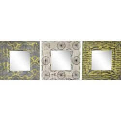 PTM Images Yellow & Gray Pattern 3-pc. Mirror Set