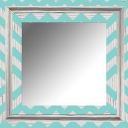 White Wash Chevron Mirror