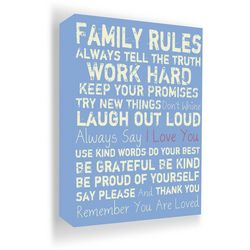 PTM Images 20'' Family Rules Blue Canvas Wall Art