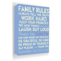 PTM Images 40'' Family Rules Blue Canvas Wall Art