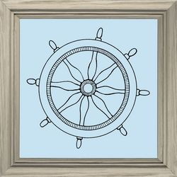 PTM Images Blue Boat Wheel Framed Wall Art