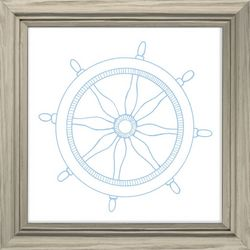 PTM Images White Boat Wheel Framed Wall Art