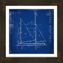 PTM Images Sailboat PR13 Blueprint Framed Wall Art