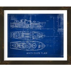 PTM Images Main Deck Blueprint Framed Wall Art
