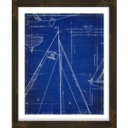 PTM Images Sailboat Sail Blueprint Framed Wall Art