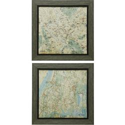 2-pc. Gel Coated Maps Framed Art