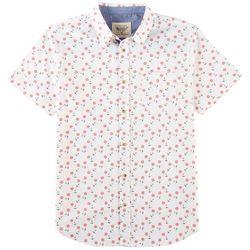 Straight Faded Mens Nautical Print Woven Short Sleeve Shirt