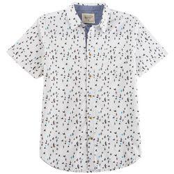 Straight Faded Mens Bird Print Woven Short Sleeve Shirt