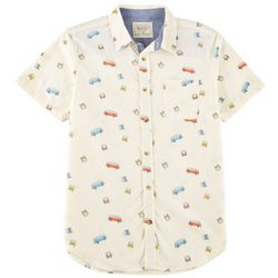 Straight Faded Mens Vintage Bus Woven Short Sleeve Shirt
