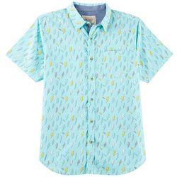 Straight Faded Mens Lighting Bolt Print Woven Shirt