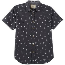 Straight Faded Mens Astronaut Woven Short Sleeve Shirt