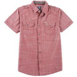 Black Jack Mens Solid Chambray Short Sleeve Shirt