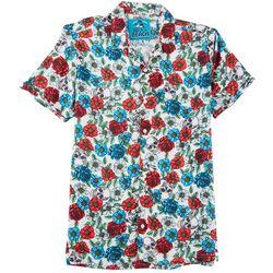 Life's A Beach Mens Skulls & Roses Short Sleeve Shirt