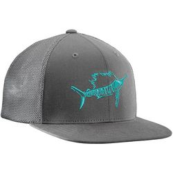 Flying Fisherman Mens Sailfish Grey Fitted Trucker Hat