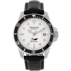 Heritor Automatic Mens Lucius Silver and White Leather Watch
