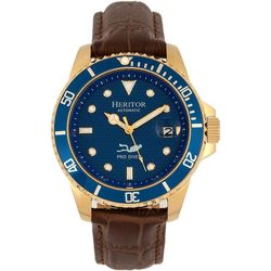 Heritor Automatic Mens Lucius Gold and Blue Leather Watch
