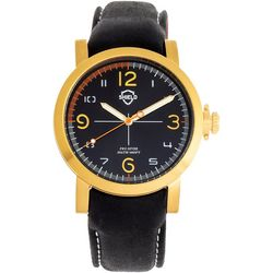 Shield Mens Berger Gold and Black Leather Band Watch