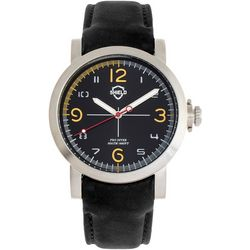 Shield Mens Berger Silver and Black Leather Band Watch