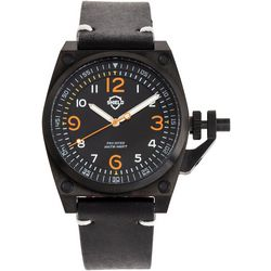 Shield Mens Pascal Black Leather Band Watch