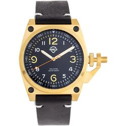 Shield Mens Pascal Gold and Black Leather Band Watch