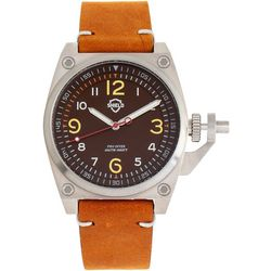 Shield Mens Pascal Camel Brown Leather Band Watch