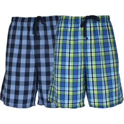 Hanes Mens Ultimate 2-pk Green Plaid Lounge Shorts